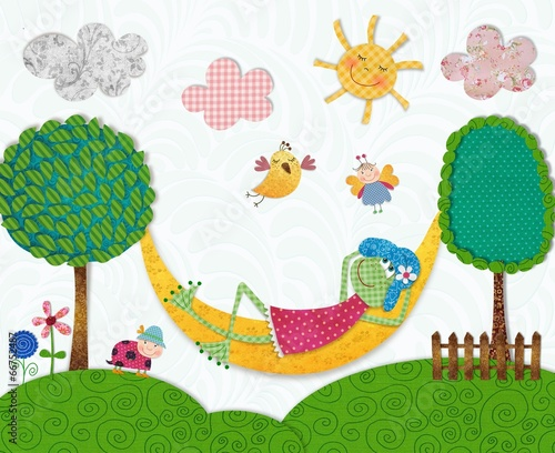 Illustration for children. Frog in relax © evarin20