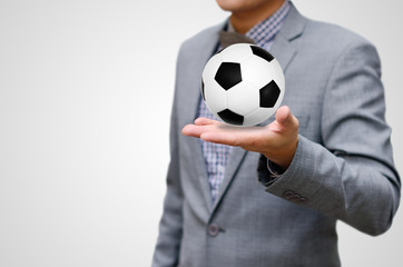 Football business concept, Ball in hand
