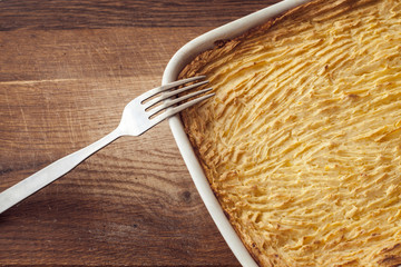oven homemade shepherds pie with cheesy mashed potatoes