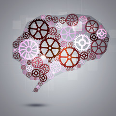 Human Brain Shape Gears Business Background