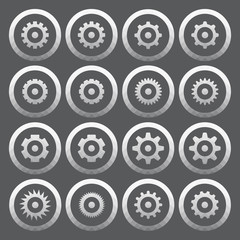Vector of transparent icon, gear wheel or setting symbol