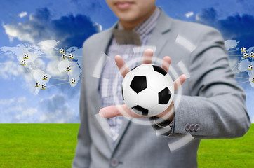 Football network concept, Businessman invest in soccer team