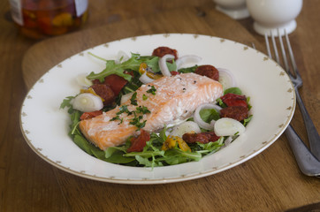 Salmon and chorizo with salad
