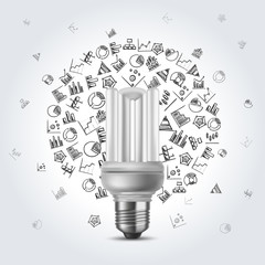 Energy saving bulb with diagram icons