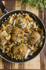 Tarragon chicken with mushrooms and chickpeas