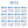 Blue glossy calendar for 2015 in English. Sundays first