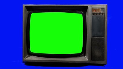 Old Television,  Turning Channels. Green Screen.