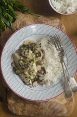 Chicken, mushroom and tarragon fricassee
