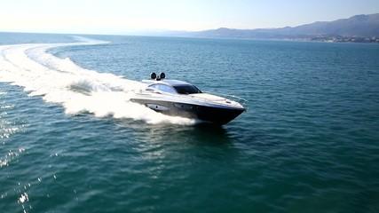 motor yacht in navigation