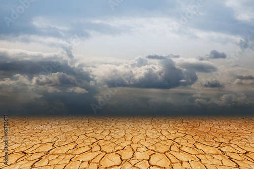 Landscape, dry earth and sky