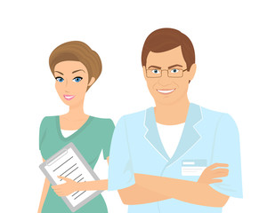 Smiling female and male dentists isolated on white