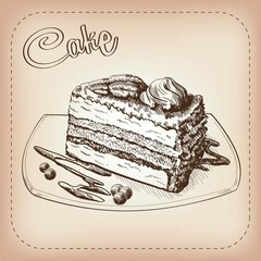 cake vector hand drawn