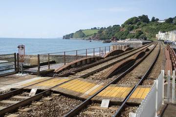 Coastal railway line at Dawlish Devon England UK
