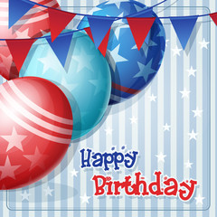 Greeting card to birthday with balloons and flags