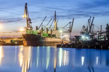 Vessel in Bremen by night