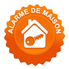 alarme de maison sur bouton web denté orange