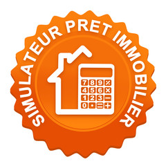 simulateur prêt immobilier sur bouton web denté orange