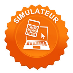 simulateur sur bouton web denté orange