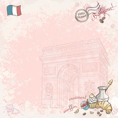 Background image on France with cupcakes and croissants
