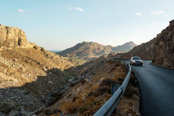 Car driving through Kourtaliotiko Gorge, Crete, Greece