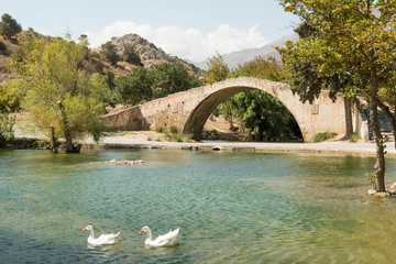 Bridge above water of Kourtaliotiko Gorge, Crete, Greece