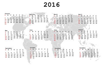 2016 Calendar for agenda with world map