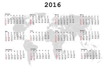2016 Calendar for agenda with world map