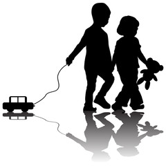 Pair of children with toy car