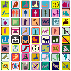 Colored signs icons used in transportation means