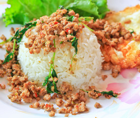 Thai food; Fried pork with white  and rice