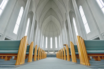 Inside of The Hallgrimskirkja Church, Reykjavik