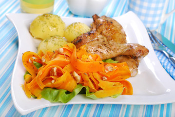 dinner with chicken and carrot salad