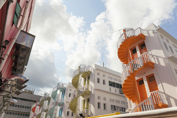 Colorful Rows of Spiral Staircase in Bugis Area