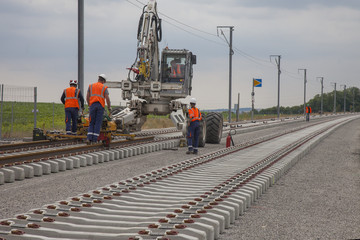 chantier de pose de rails