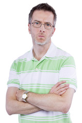 middle aged man with displeased expression on white background