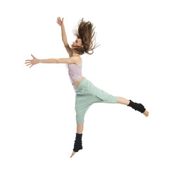 Jumping young dancer isolated on white