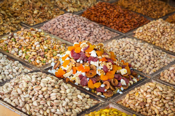 Selection of nuts on the local market in Dubai