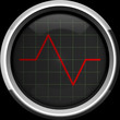 Red pulse to the heart monitor or oscilloscope screen