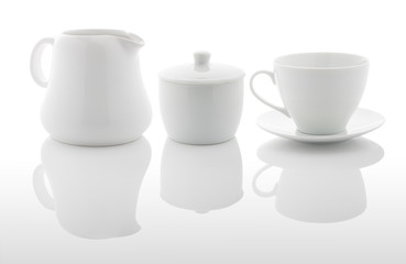 White milk jug, sugar bowl and coffee cup © Entrieri