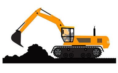 Excavator working on a white background