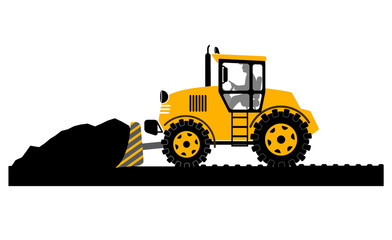 bulldozer working on a white background