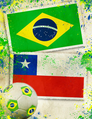 Brazil vs Chile soccer ball concept