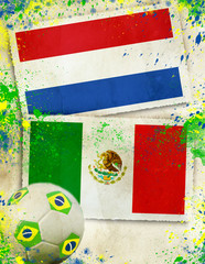 Netherlands vs Mexico football concept