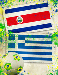 Costa Rica vs Greece soccer concept