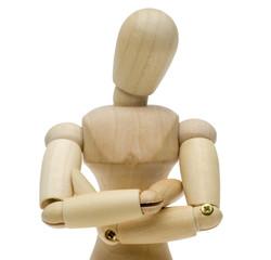 腕組みする木製人形