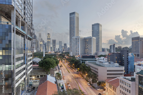 Singapore Cityscape from Beach Road Poster