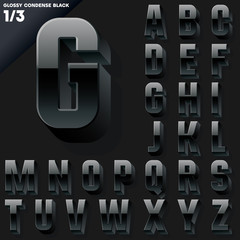 Vector alphabet of simple 3d glossy letters. Condensed. Black