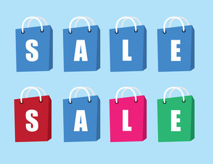 Shopping bags spelling out SALE
