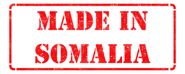 Made in Somalia on Red Rubber Stamp.