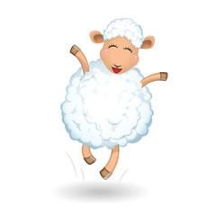 Sheep on white background. Jumping, running, fun.